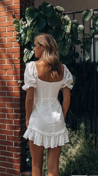 White Crochet Lace Mini Dress