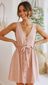 Pink Button Down Waist-Knot Dress