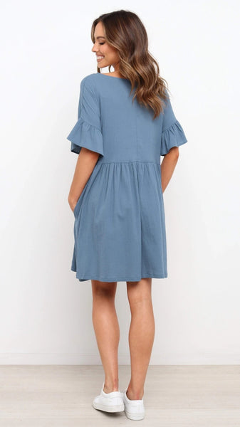 Blue Pockets Pleated Dress