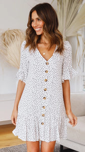 White Button Up Short Sleeve Dress