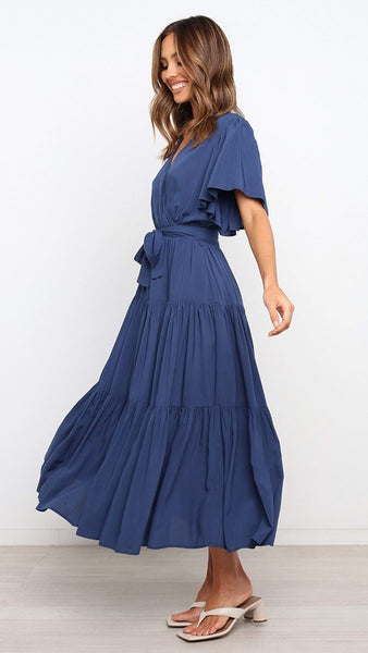 Navy Surplice Waist-Tie Dress