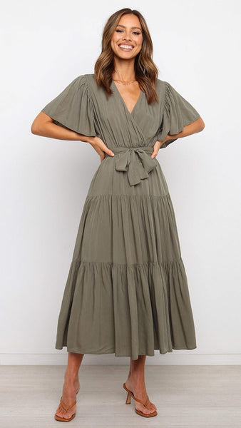Olive Green Surplice Waist-Tie Dress
