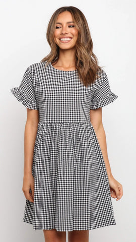 Black White Plaid Flare Dress