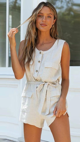 Beige Button Down Linen Rompers