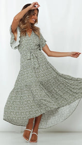 Sauve Green Floral Surplice Knot Dress