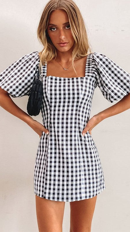 Black Plaid Bodycon Dress