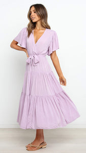 Violet Surplice Waist-Tie Dress