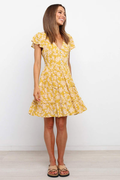 Yellow Floral Buttoned Skater Dress