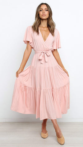 Baby Pink Surplice Waist-Tie Dress