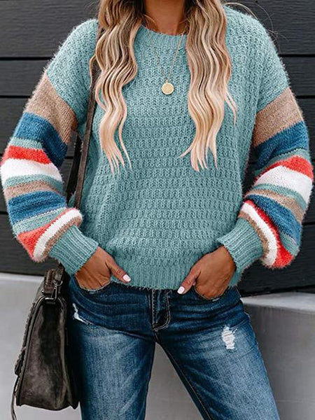 Striped Pattern Sleeve Crew Neck Pullover Sweater