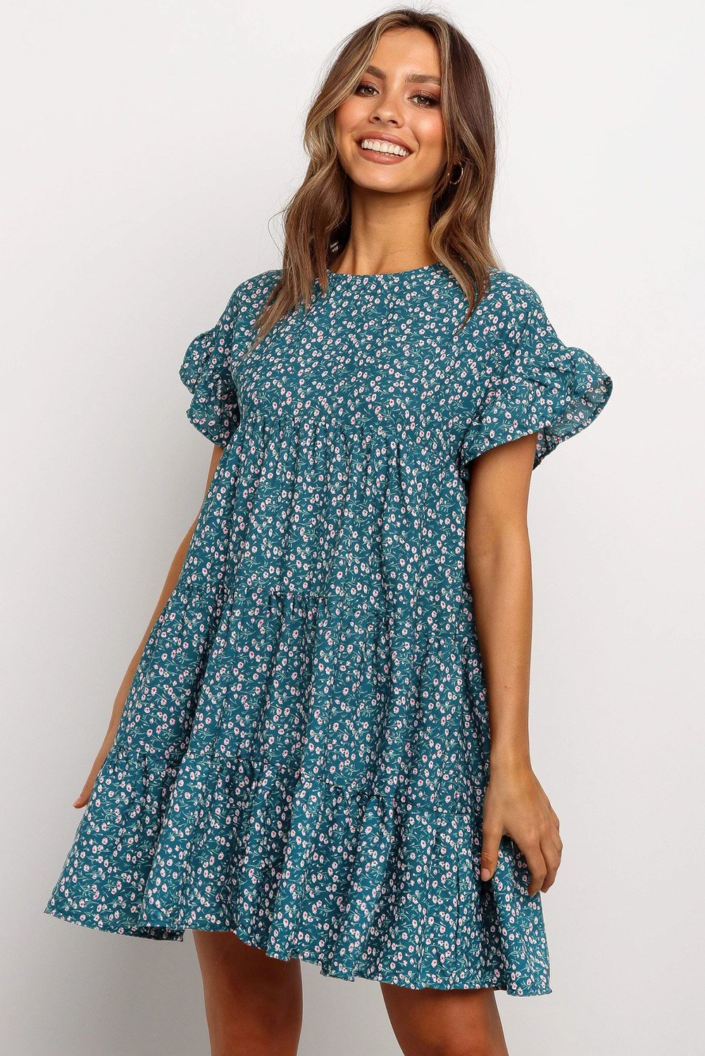 Blue Tiered Gathered Floral Print Short Dress