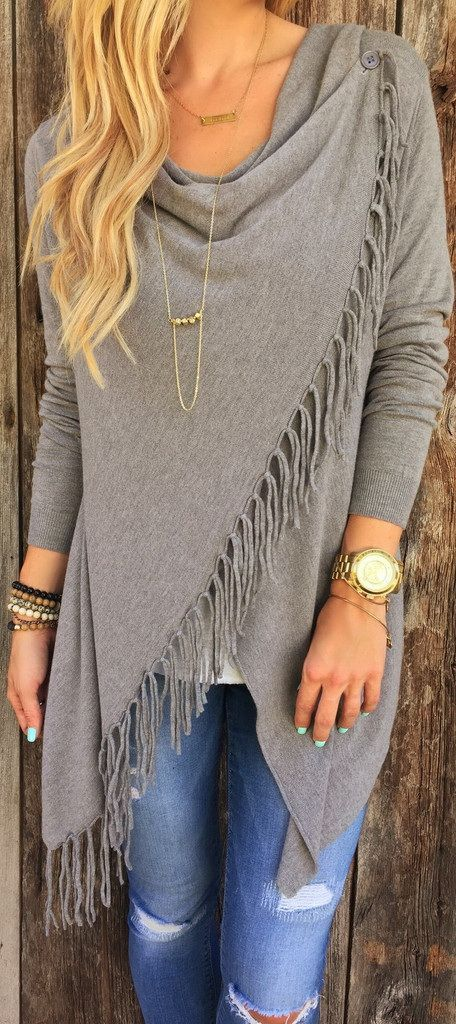 Gray Single Button Tassel Asymmetrical Hem Shawl