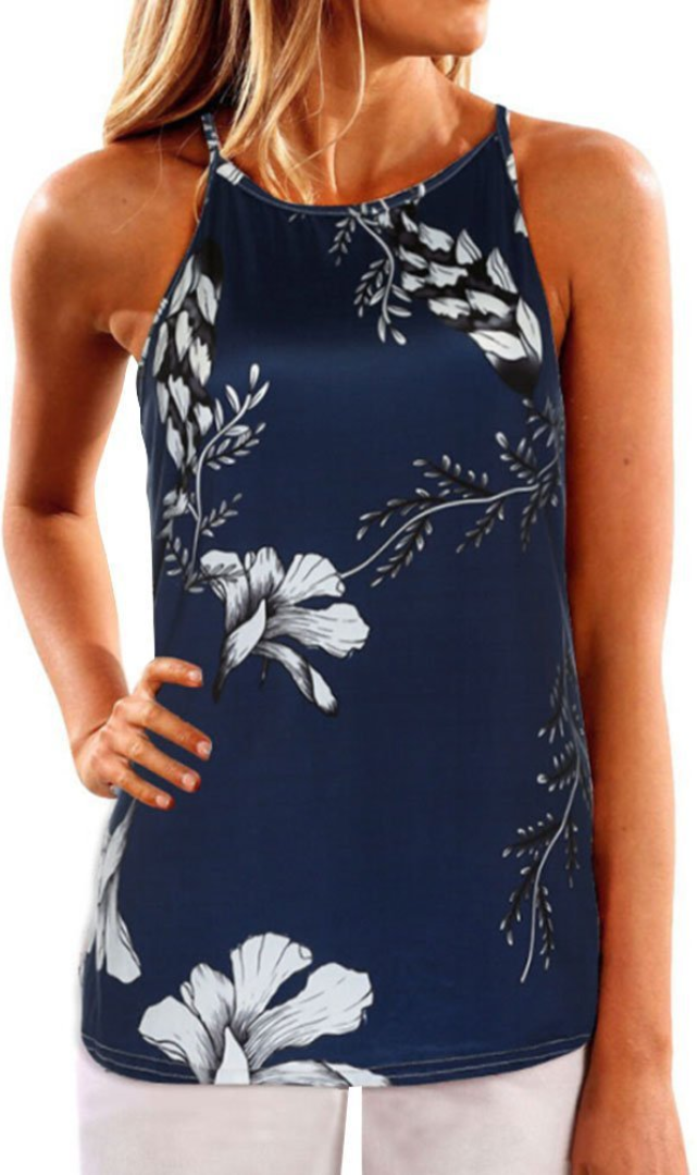 Demure Navy Floral Print Camisole