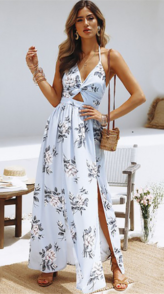 Pastel Blue Floral Knot Split Maxi Dress
