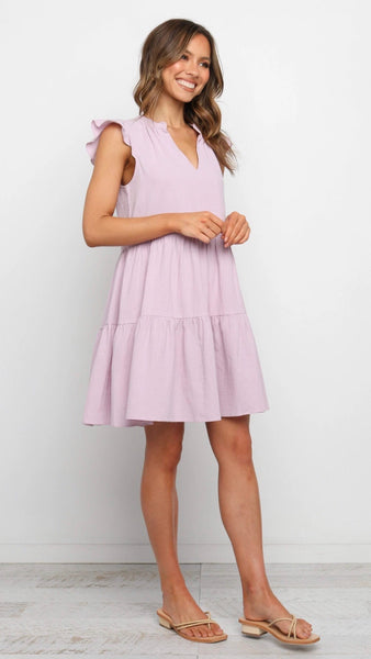 Solid Violet Babydoll Dress
