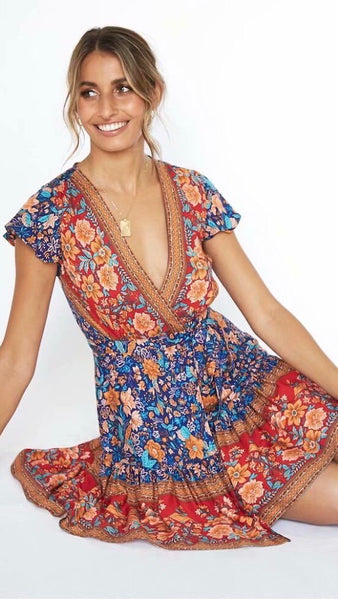 Navy Floral Surplice Mini Dress