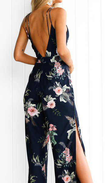 Navy Floral Surplice High Slits Jumpsuits