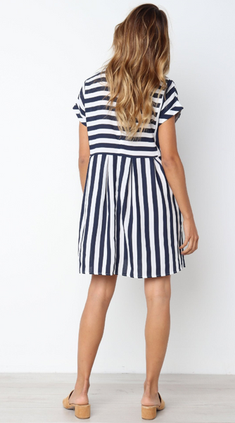 Navy Stripe Pleated Skater Dress
