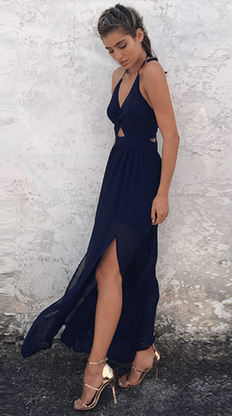 Navy Blue Knot Split Maxi Dress