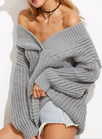 Grey Off the Shoulder Chunky Knit Oversized Sweater
