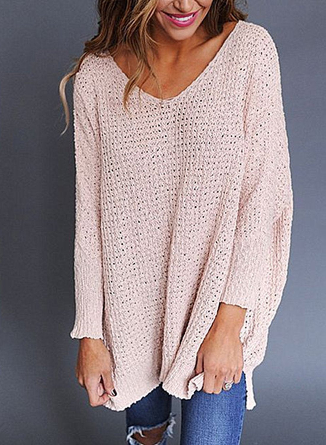 Pink V Neck Loose Fit Knit Sweater