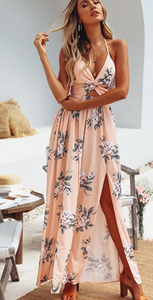 Coral Floral Knot Split Maxi Dress