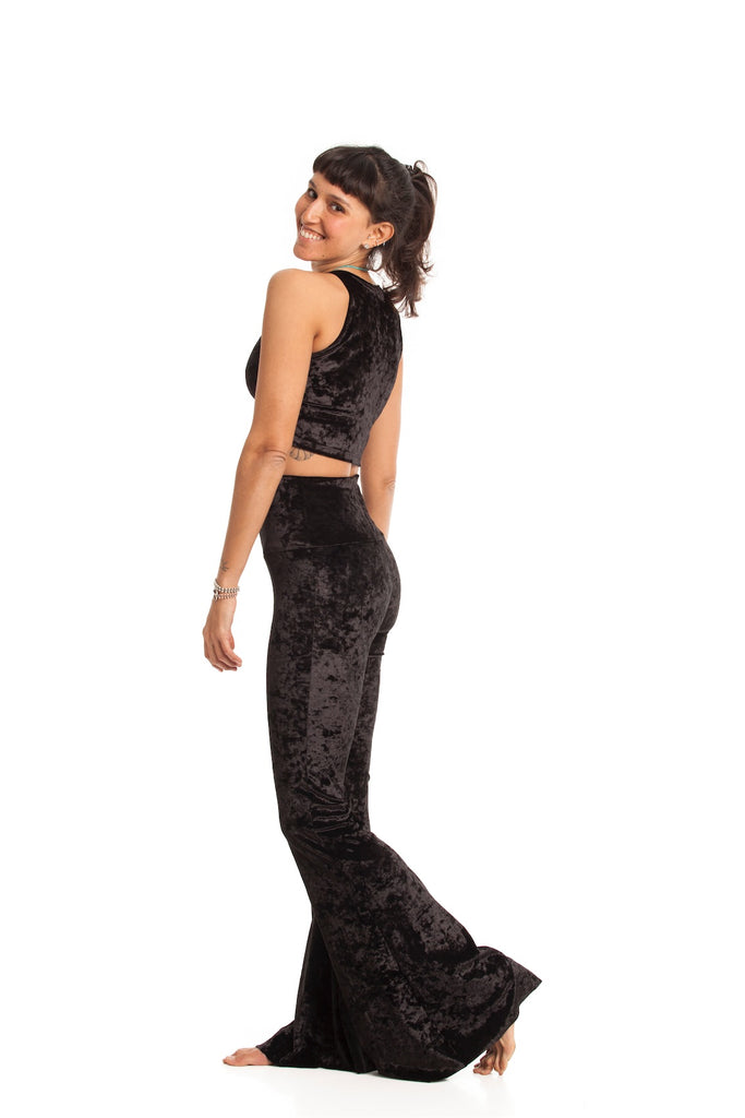 Sleeveless Crop Black Velvet