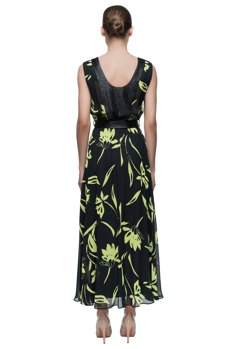 'Spring's Gravity' Sleeveless, Black Long Dress With Green Print