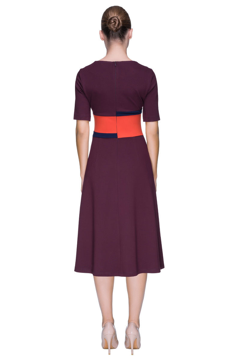 'Smart Touch' Glamorous Marsala Midi Dress