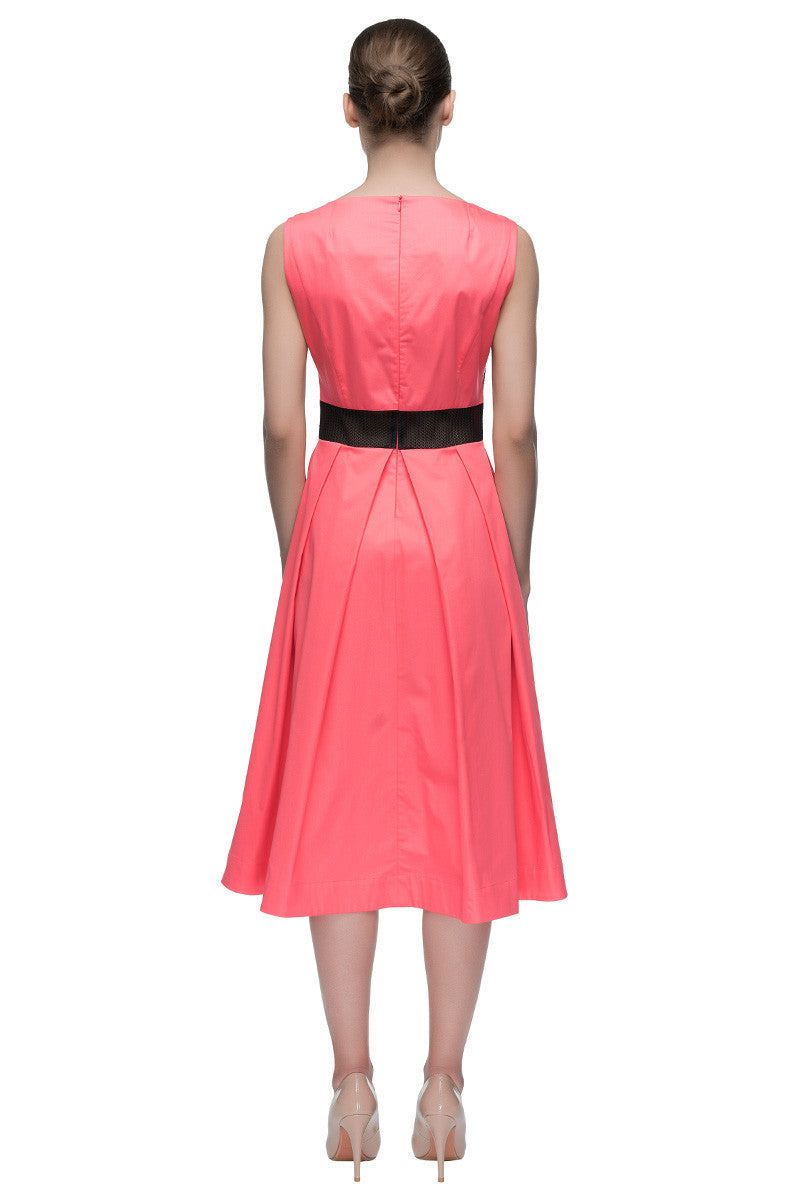'French Rose' Sleeveless French Rose-pink Midi Dress