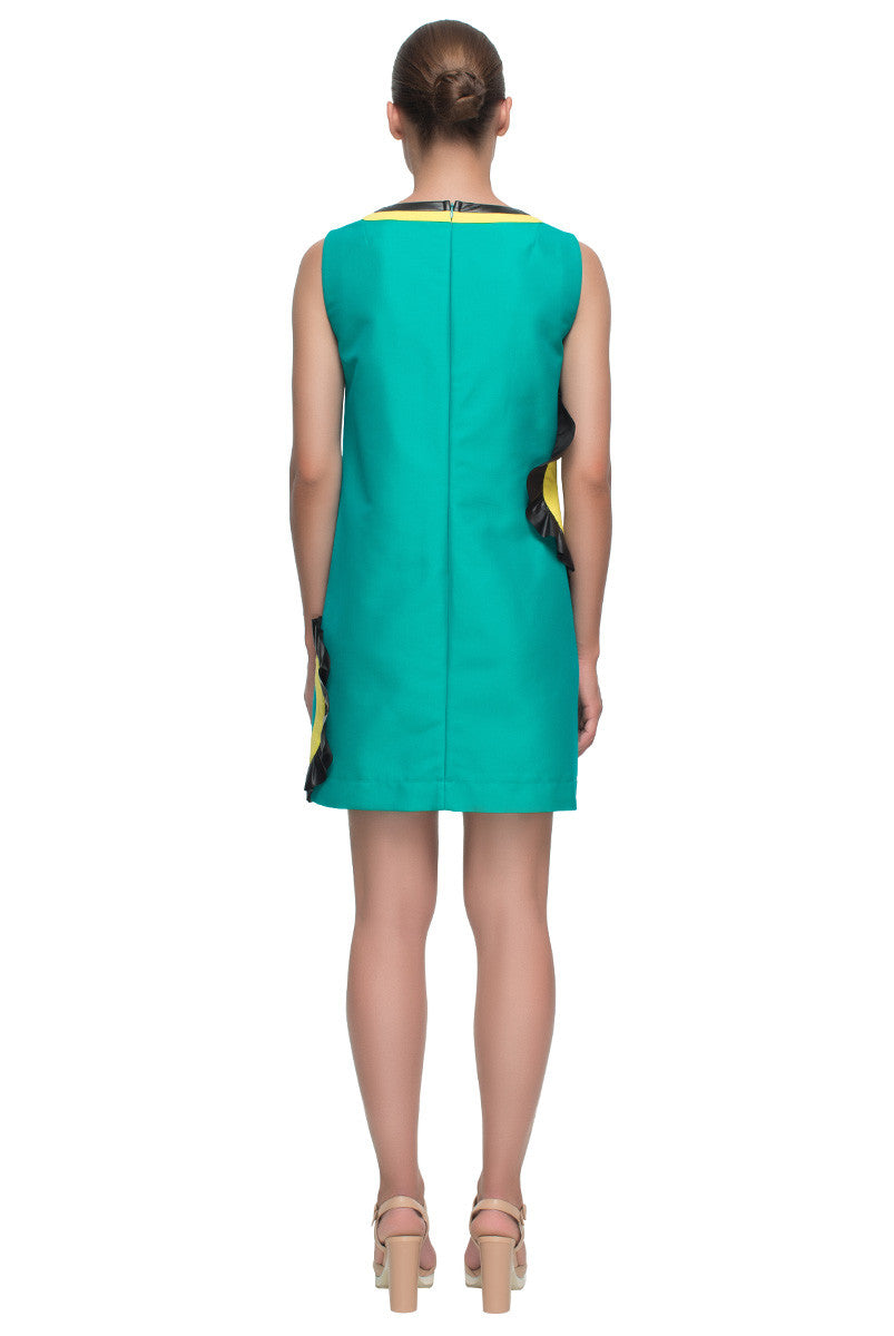 'Hollywood Look' Short Green Cut Out Cotton Shift Dress