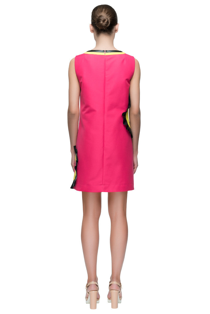 'Hollywood Mood' Short Cut Out Bright Cotton Shift Dress