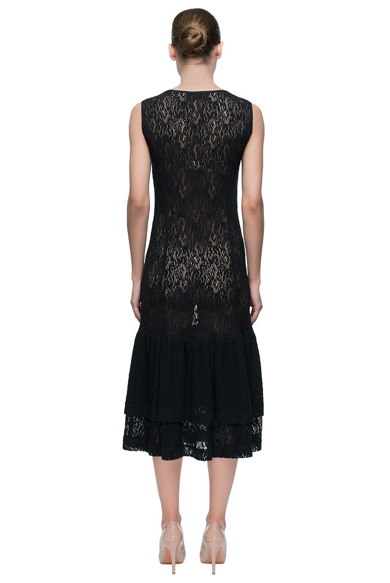 'Wild Lace Dream' Sleeveless Lace Midi Dress