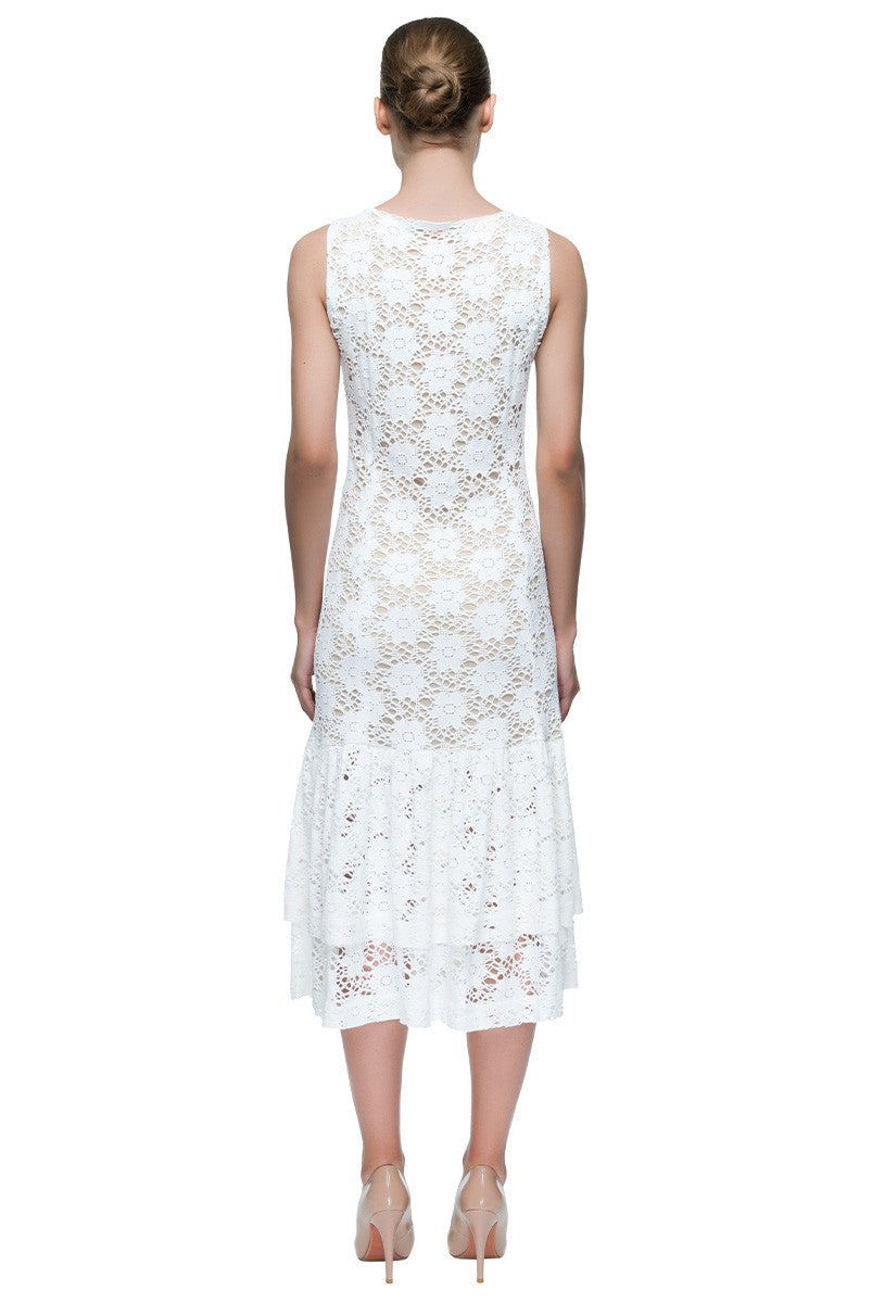 'White Flowered Dream' Sleeveless Lace Midi Dress