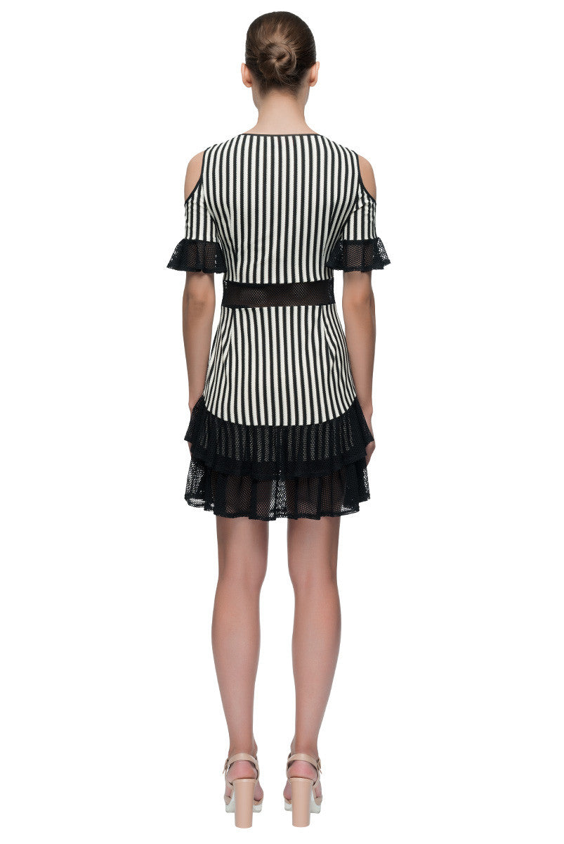 'Parisian Passion' Striped Cold Shoulder Mini Dress