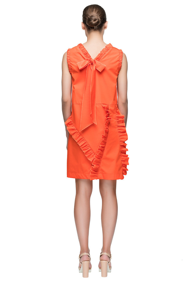 'Beloved Bow Back Dress' Sleeveless Bright Orange Ruffle Dress