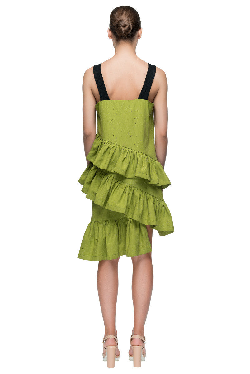 'Ruffle Strategy' Bright Olive Green Cotton Sundress