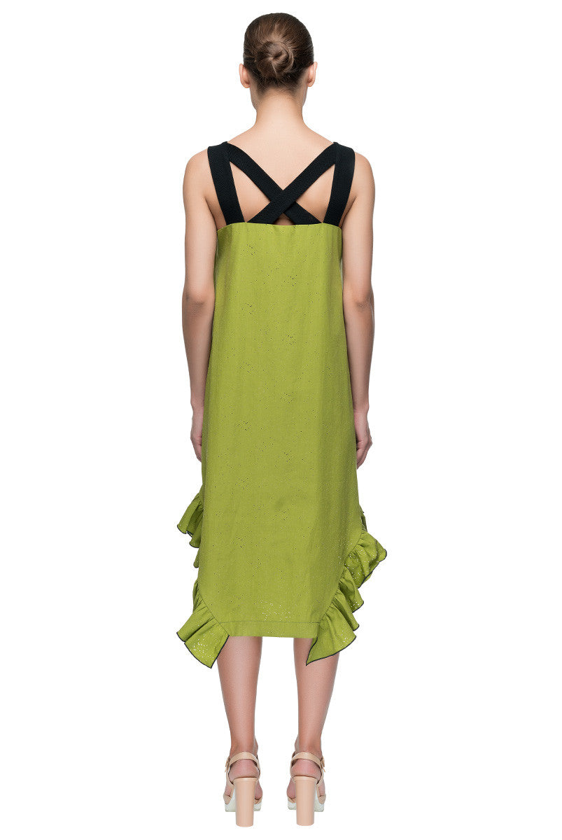 'Strappy Strategy'  Ruffle Hem Green Strappy Dress