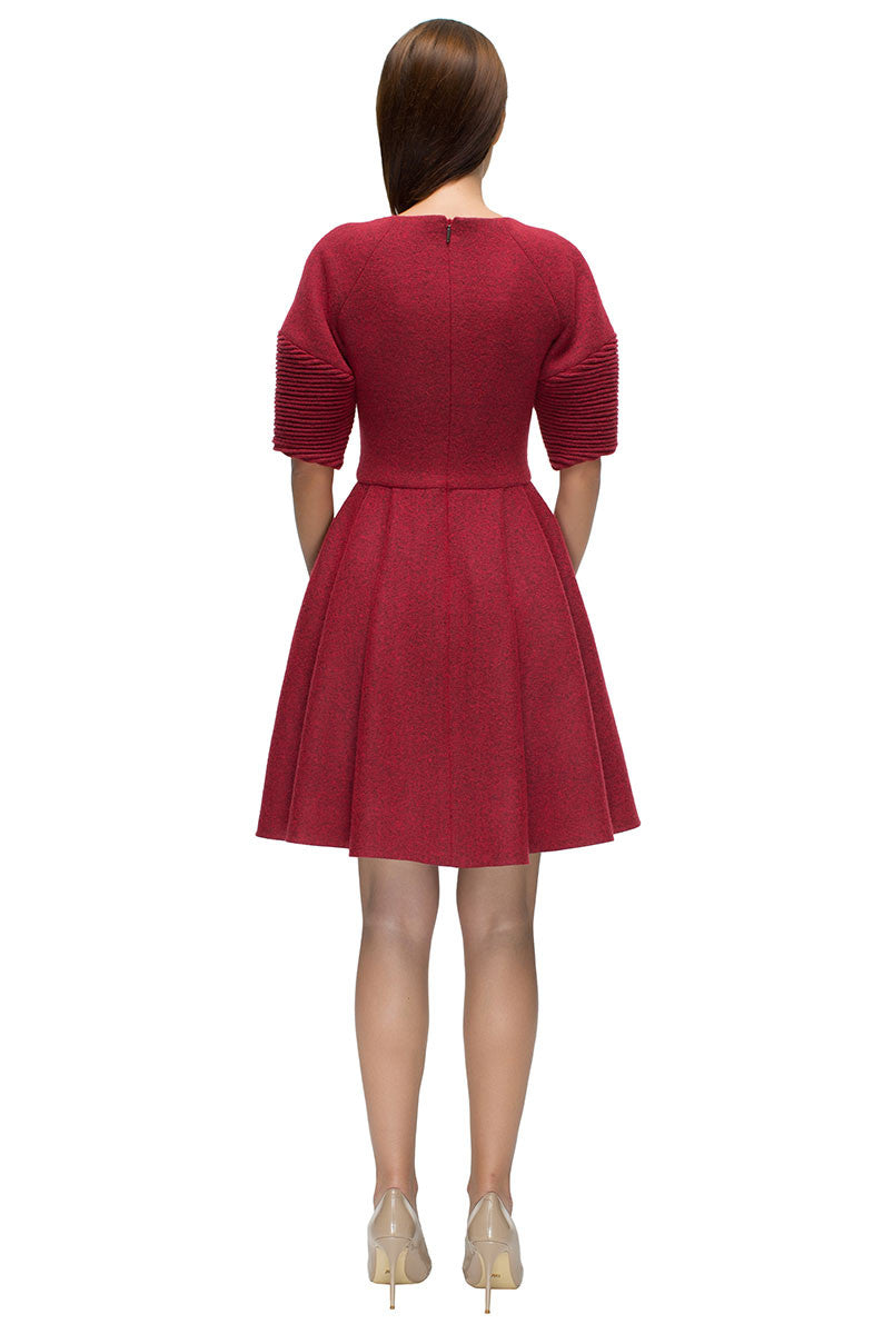 'Red Longing' Milled Wool Dress with Gathers