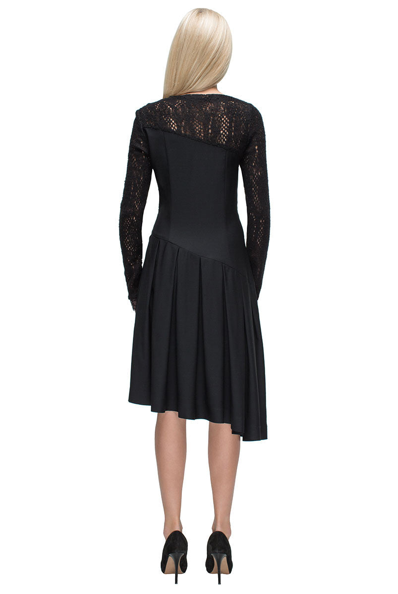 'Melodic Pleats' Askew Lace Midi Dress