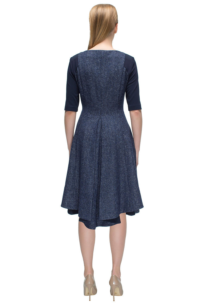 'Self-Assured Lover' Blue Boucle, Front Zipper Dress with Elbow Length Sleeves