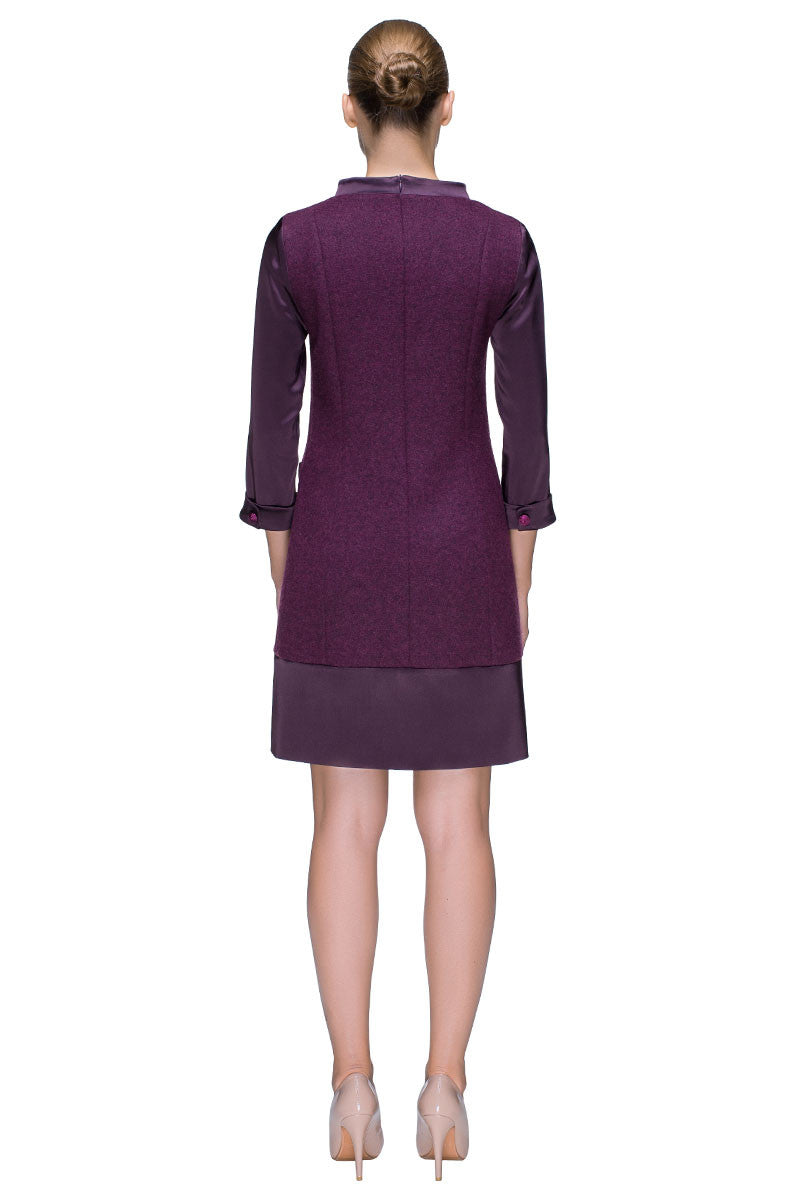 'Marsala Colored Dream' Long Sleeve Wool Dress With Quilted Pockets