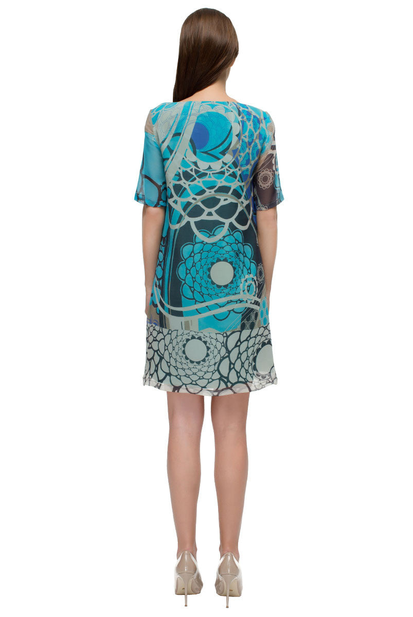 'Blue Sea' Abstract Print Shift Dress