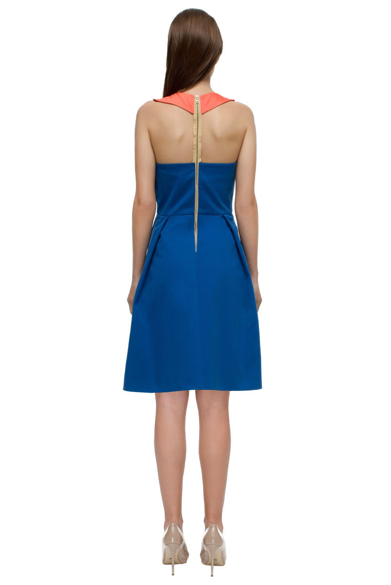 "'Blue and Orange"" Bare-shouldered Dress"
