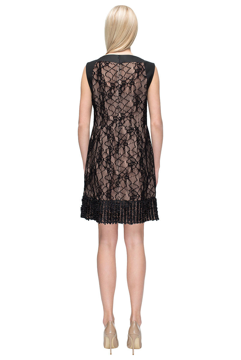 'Chic Embellished Black Lace Dress'