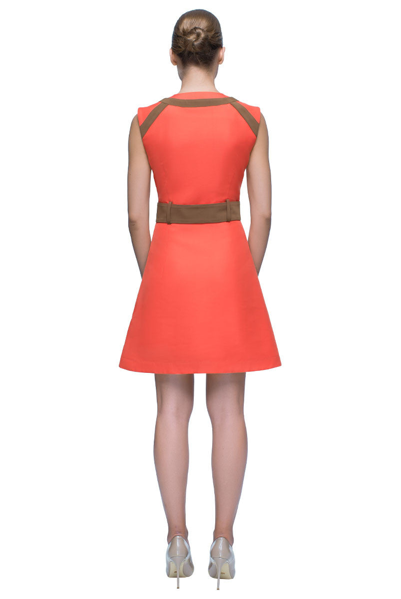 'Coral Reef' Belted, Sleeveless V Neck Dress
