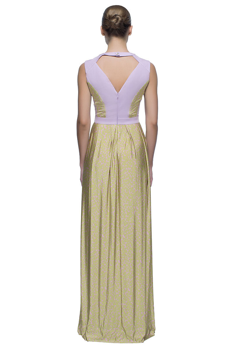 'Greek Maiden' Dusty Lilac Cut Out Neckline Maxi Dress