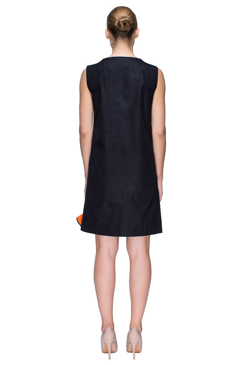 'Beach Sunset' Short Black Sleeveless Dress With Bright Details