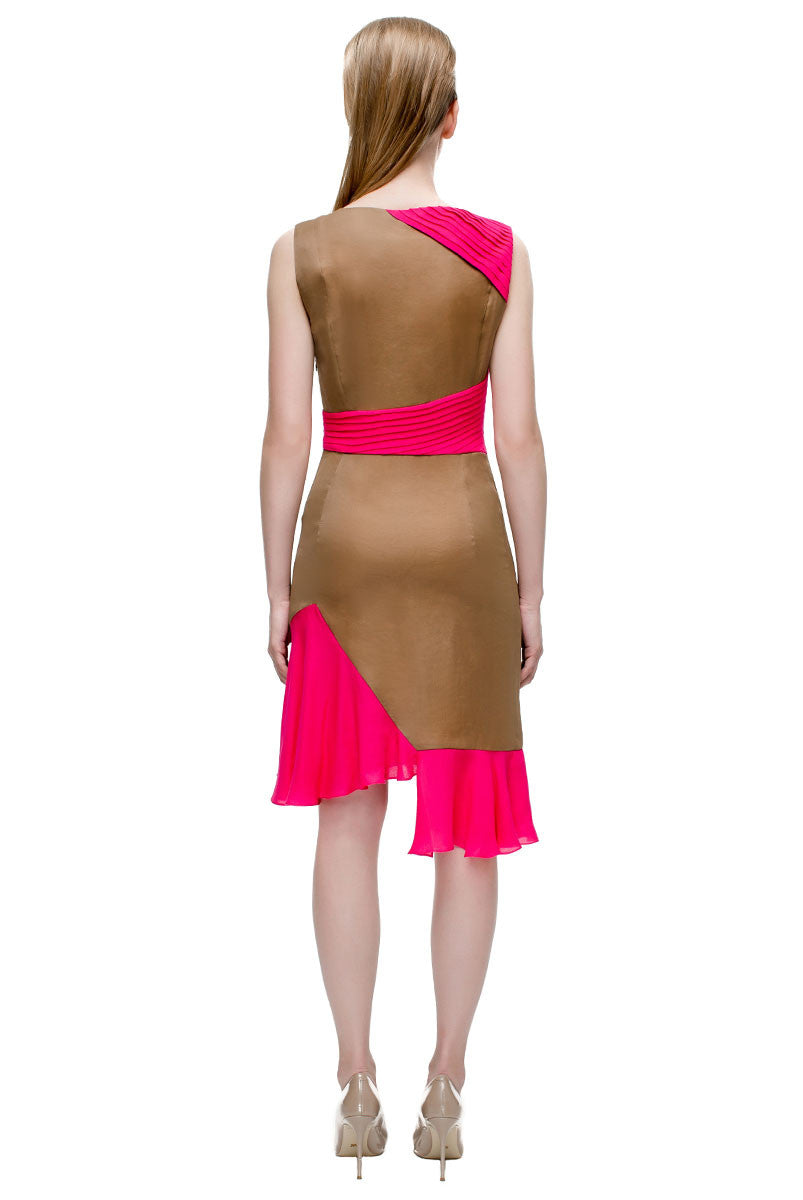 'Crimson Stitched Pleats Dress'