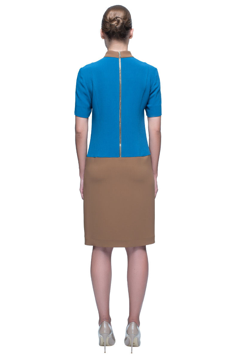 'Azure Power' Short Sleeve, Knee Length Skirt Dress